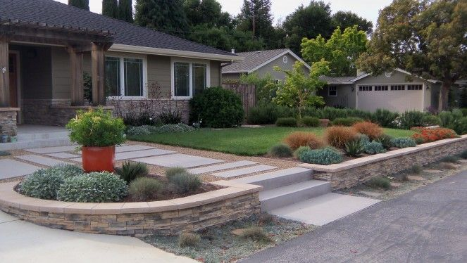 Low Stone Retaining Wall Front Yard Drought Tolerant