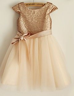 Princess+Knee-length+Flower+Girl+Dress+-+Satin+/+Tulle+/+Sequined+Short+Sleeve+Scoop+with+–+GBP+£+48.99