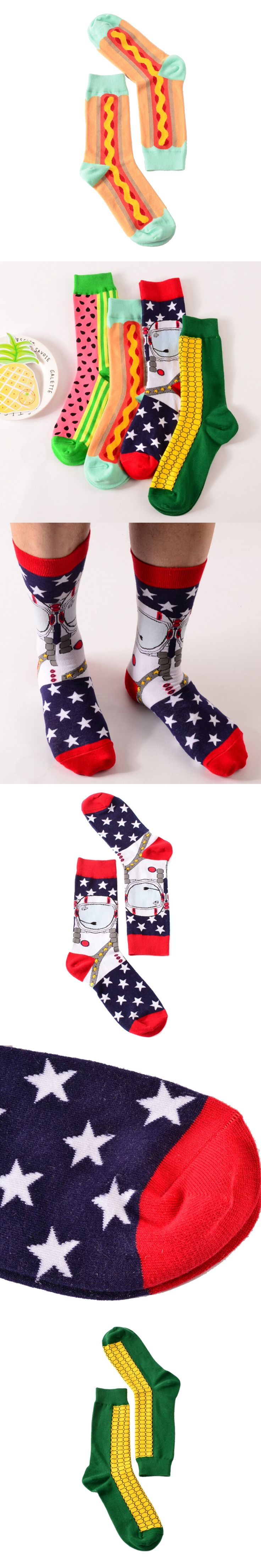 1 pair new brand men cotton casual socks in tube novelty harajuku designer fashion street watermelon skateboard long funny socks