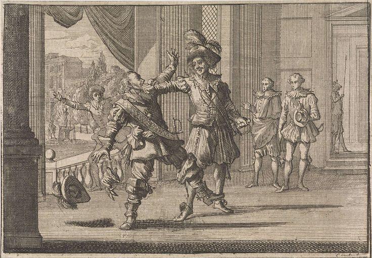 Caspar Luyken | Graaf Louis de Bourbon-Soissons geeft maarschalk Ferté-Senneterre een vuistslag na zijn voorstel van een huwelijk met de hertogin van Aiguillon, 1641, Caspar Luyken, Johann David Zunnern, 1701 |