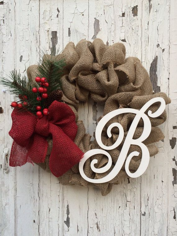 PERSONALIZED Shabby Chic Burlap Wreath by FromTheCoast2TheCity
