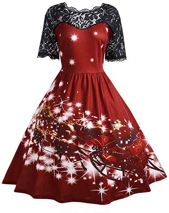 437ae40866f4 Amazon.com  Womens Christmas Party Skirt Ladies Vintage Xmas Swing Lace  Dress Duseedik  Clothing