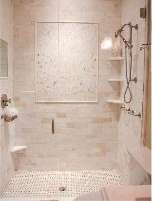 Great mix of tile in this shower.  Designed by Urban Grace Interiors: http://urbangraceinteriorsinc.com/#home/