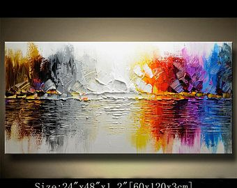 Abstract Wall Painting, expressionism Textured Painting,Impasto Landscape Painting ,Palette Knife Painting on Canvas by Chen 0807