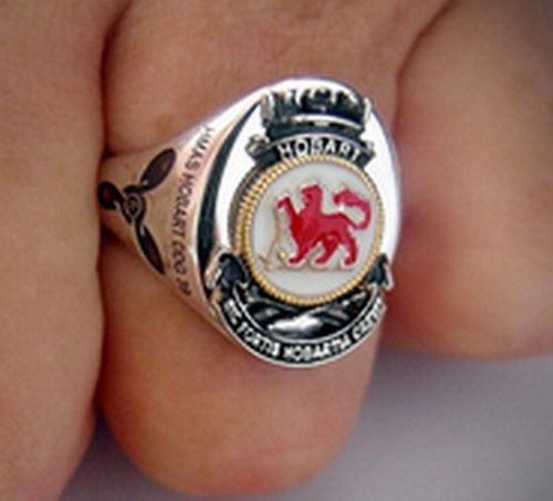 HMAS Hobart Ships Crest Ring with right arm rate of your choice as side emblem