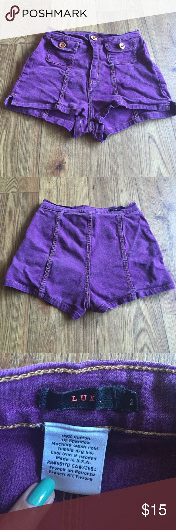 Urban Outifitters Denim high waisted shorts Donating if not purchased soon 🍩 Plum wine colored shorts says size 2 but can really fit anyone who wears size small. Worn but in good condition. Flattering for those with plump 🍑 and want to show a little cheek! Lux Shorts Jean Shorts