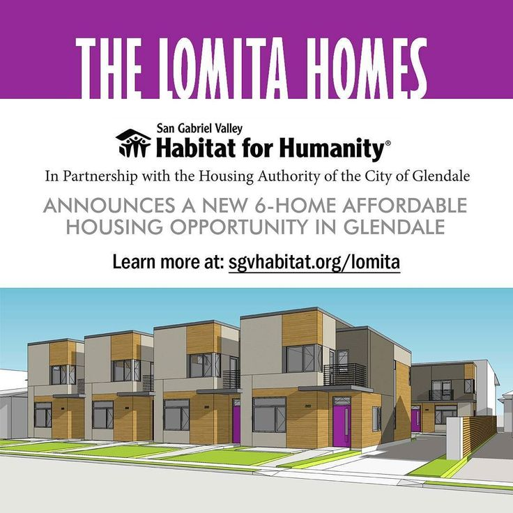 HABITAT FOR HUMANITY OFFERS NEW AFFORDABLE HOMES IN #GLENDALE  Meetings for Prospective Buyers begin 02/18/16 at the Glendale Recreation Center  Applications for the Lomita Homes an affordable home ownership project to be built in partnership with the San Gabriel Valley Habitat for Humanity will become available on February 18 at the first in a series of four application meetings to be held at the Glendale Recreation Center 201 E. Colorado St. Glendale CA 91205. Attendance at one of the four…