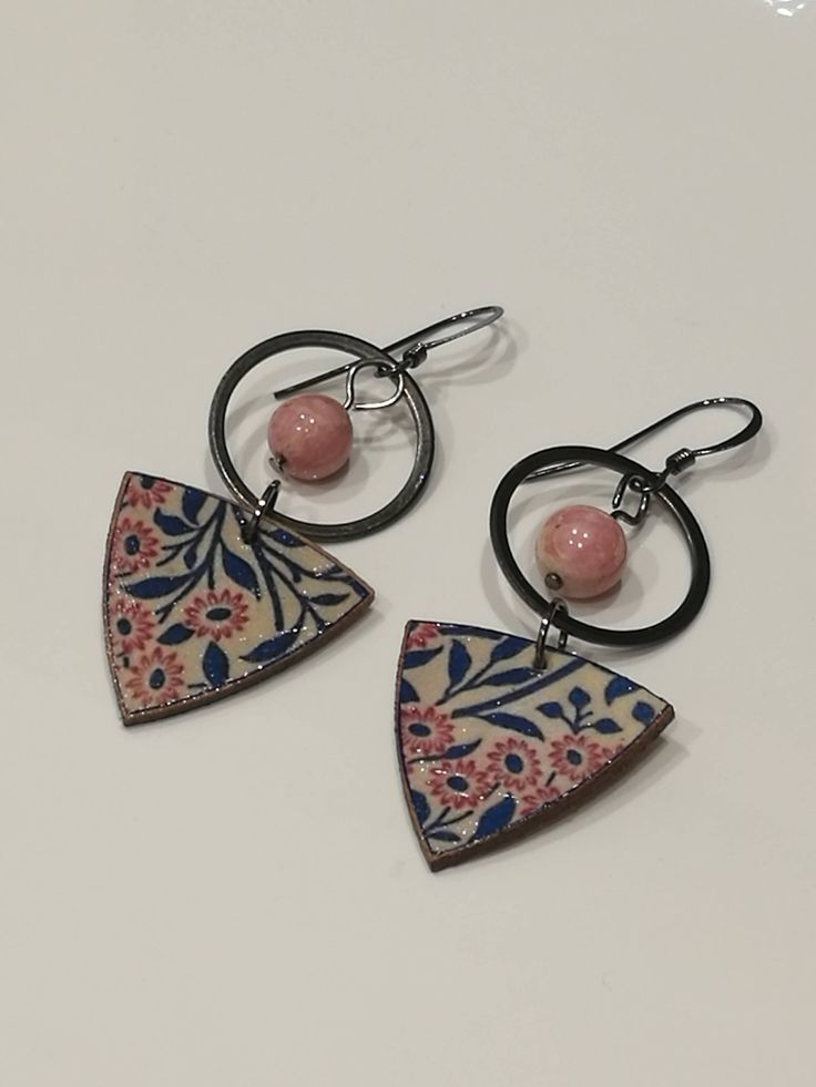 Decoupage Vintage Wallpaper Earrings by GreyShackStudio on Etsy