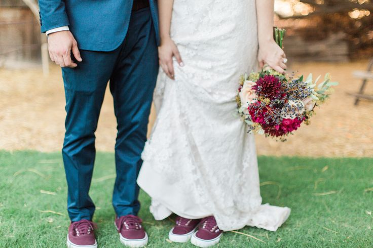 Matching wedding shoes || burgundy wedding vans