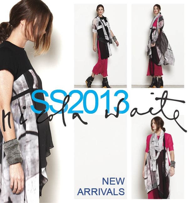 """Spring collection has arrived in store! A new Italian abstract print in shades of black/charcoal with hints of colour.  These pieces will mix back wonderfully with your winter black  or highlight summer's """"cerise"""". An all seasons must have!"""