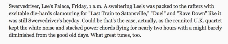SWERVEDRIVER in TORONTO STAR Nxne Review !!!