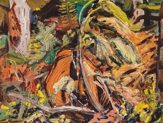 Arthur Lismer - Fallen Log In The Forest 12 x 15.75 Oil on board
