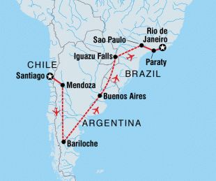 Chile, Argentina and Brazil trip map