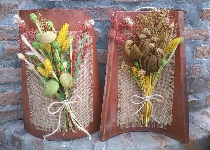 tejas decoradas flores secas - Buscar con Google