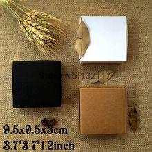 50 PCS 9.5*9.5*3 CM Caixa de Papel Kraft Caixa Marrom Preto Branco de Casamento Caixas de Embalagem de Presente de Casamento Box Partido dos doces Favores Caixas de Sabão(China (Mainland))