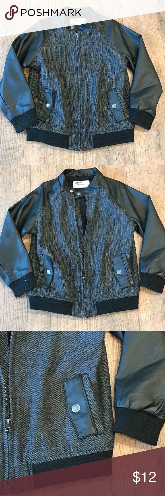 Genuine kids faux leather and herringbone jacket Genuine kids from Oshkosh faux leather and herringbone tweed jacket. Super adorable on your little man! genuine kids Jackets & Coats