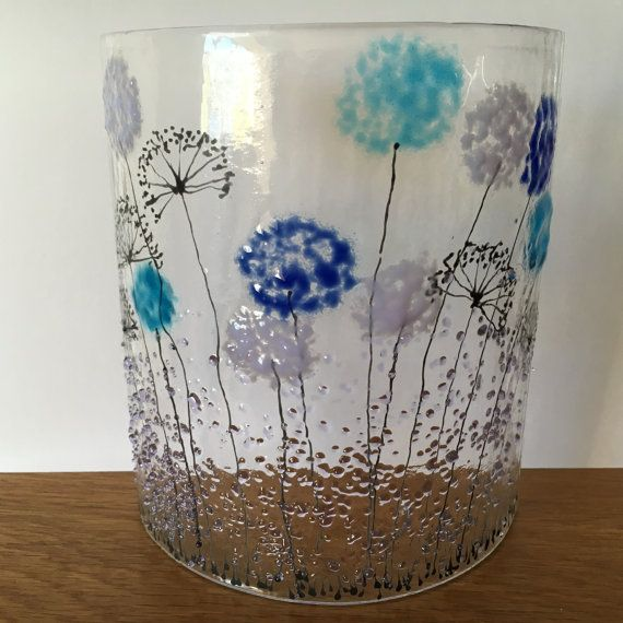 Floral Glass Plaque Candle Display  lilac blue by WarmGlassFusion