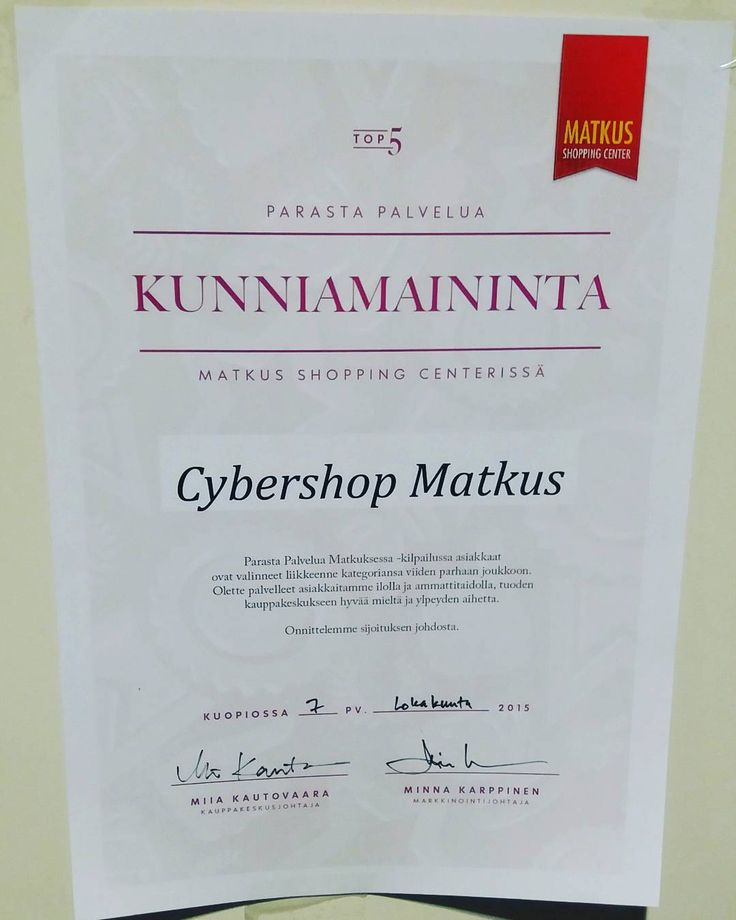 Kuopion Cybershop palkittiin parhaasta palvelusta ja kiitos siitä kuuluu teille ihanat,  rakkaat asiakkaamme! Ilman  teitä me ei tehtäis tätä työtä. #KIITOS #cybershopkuopio #parastapalvelua #matkusshoppingcenter