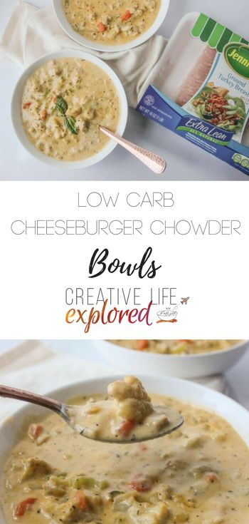 Low Carb Cheeseburger Chowder - Ground turkey, four different vegetables, and a medley of spices this soup is the perfect for sticking with your 2017 resolutions and healthy routines! #jennieo #switchcircle