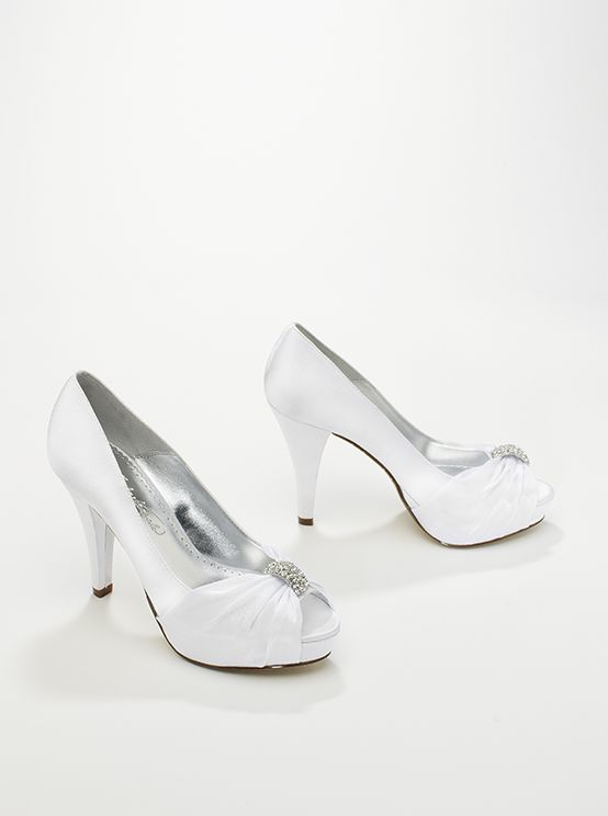 A pop of sparkle on this peep toe is the perfect touch of bridal bling.