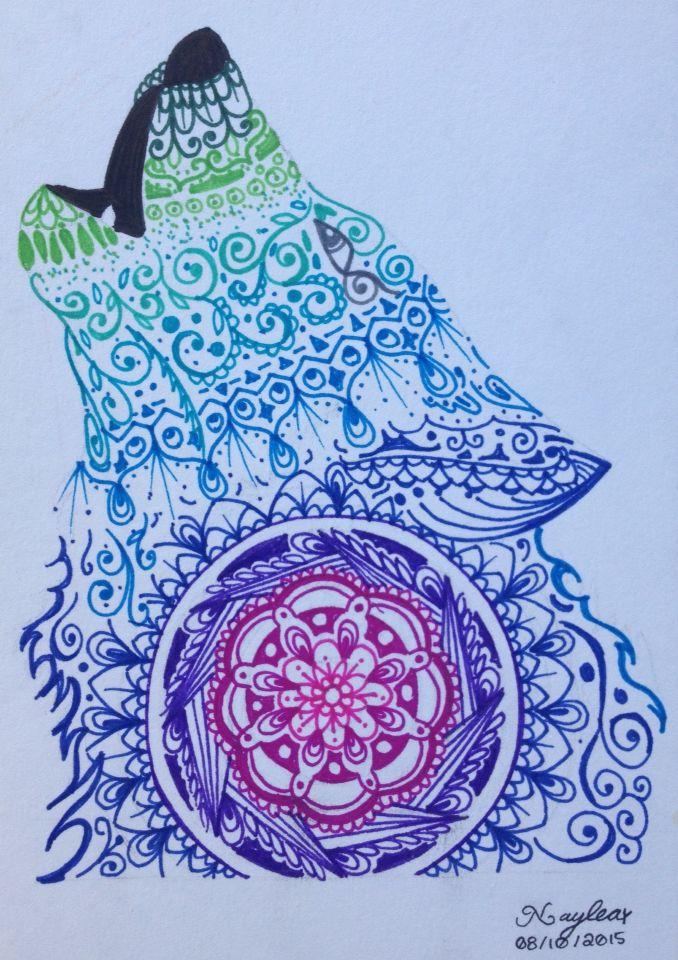 Mehndi Zentangle : Zentangle wolf inspiración a papel pinterest