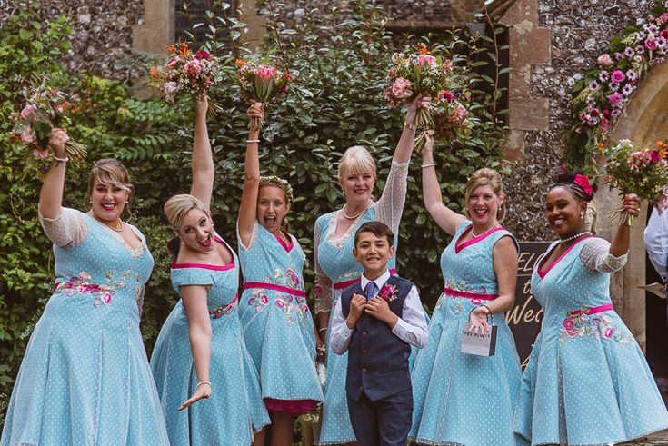 Bespoke Bridesmaids Rockabilly 1950s 50s Tea Length Vogue Pattern Dress Pink Blue Bouquet Page Boy Waistcoat Colourful Creative Vintage Railway Wedding http://joemallenphotography.co.uk/