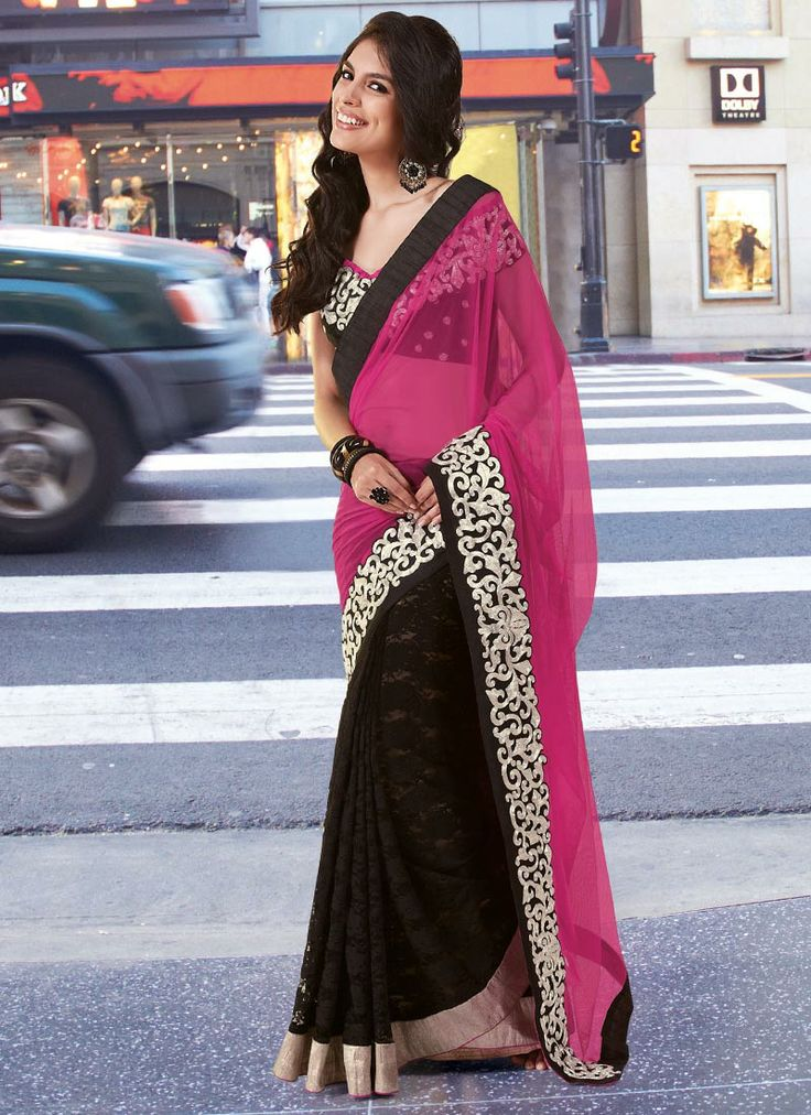 Pink And Black Half N Half Saree