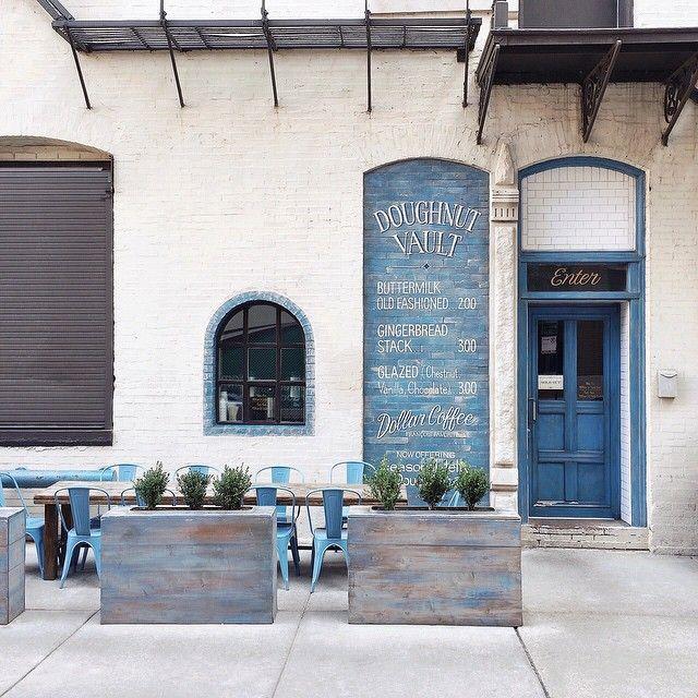 Doughnut Vault | Chicago | shopfront, blue, white, stone