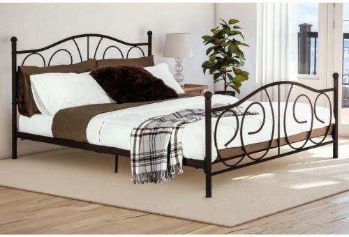 Victorian Metal Frame Platform Bed Full Size Bedroom Furniture Brown Headboard #Platform #Bedframe #Metal #Victorian #Bedroom #FullSize #Bedroom #Furniture