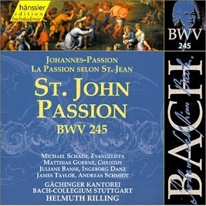 J.S. Bach: Johannes-Passion BWV 245.  One of my favourite choral pieces. Very moving.