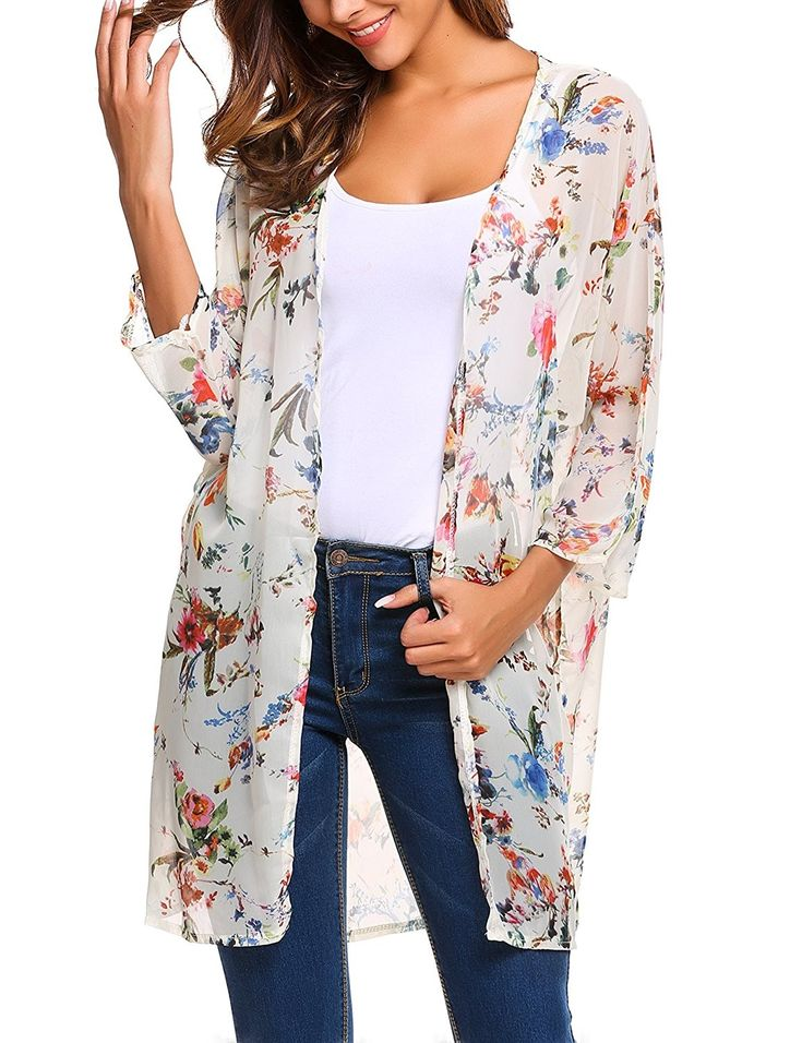Women's Long Sleeve Chiffon Kimono Floral Cardigan Beach Boho Cover Up - White - CV182YMKLWU 2