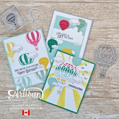 Using coordinating stamps and dies, like the Lift Me Up stamp set and Up & Away Thinlits, makes for a fun and fabulous card making experience. - Allison Okamitsu
