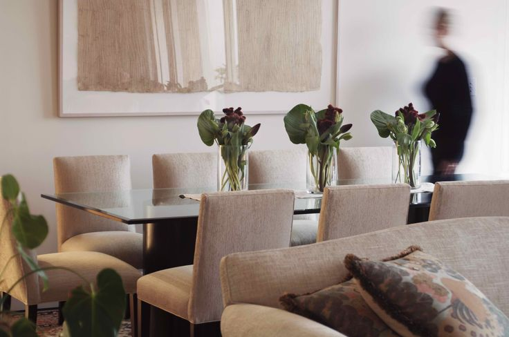 Dining Room with Jenny Sages artwork and Barbara Barry table. Brooke Aitken Design.