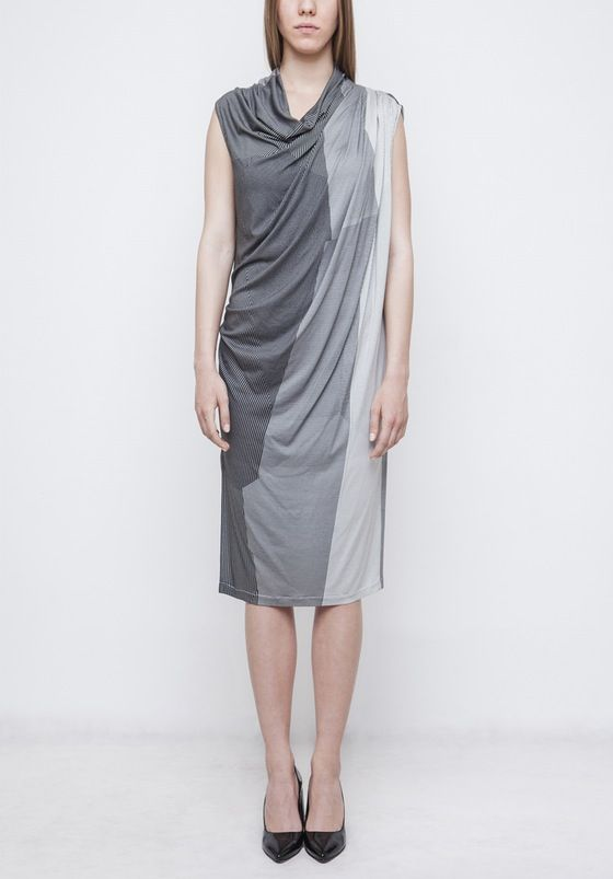 Image of Cowl neck dress with Printed Fabric