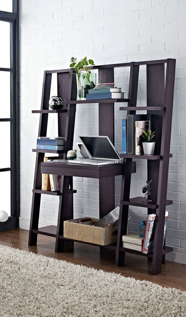 Lid german beer mug hinged lid gaming computer desk ideas - Ladder Bookcase With Desk Combines A Desk Pull Out Drawer And Storage