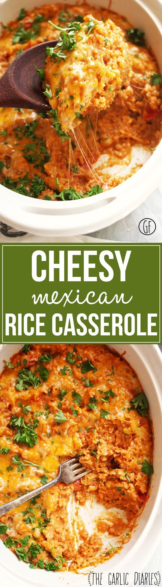 Cheesy Mexican Rice Casserole - Yummy, flavorful, and simple, this mouth watering casserole is the perfect main or side dish for any occasion! Gluten Free - TheGarlicDiaries.com