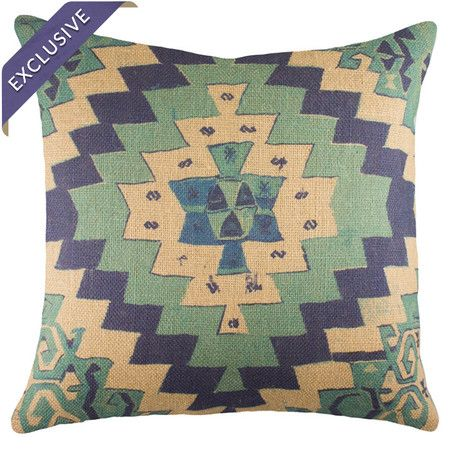 southwesty with a twist: Eyes Catch Burlap, Pillows Carpet Chairs Lighting, Favorit Chai, Blue, Arm Chairs, Pop Of Color, Burlap Pillows, Beige, Add