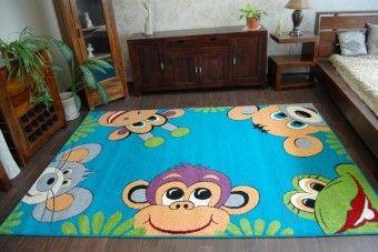 Dětský koberec Monkey - tyrkysový