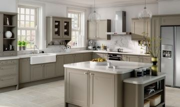 Bella Matt Stone Grey Kitchen - By BA Components MDF vinyl wrapped kitchen trade doors