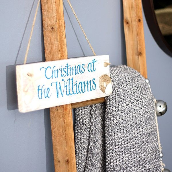 Beach Christmas Wood Plaque Personalised in Hamptons Lifestyle