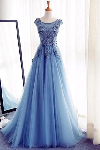 Sky blue organza lace applique round neck A-line evening dresses,formal dress
