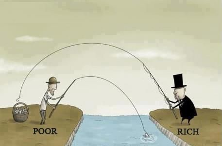 Perfect! rich vs poor illustration. They're USUALLY REPUBLICANS,  GREEDY AND REACHING TO TAKE MORE!