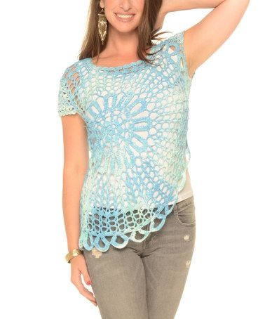 Another great find on #zulily! Turquoise Sheer Crochet Top - Plus #zulilyfinds