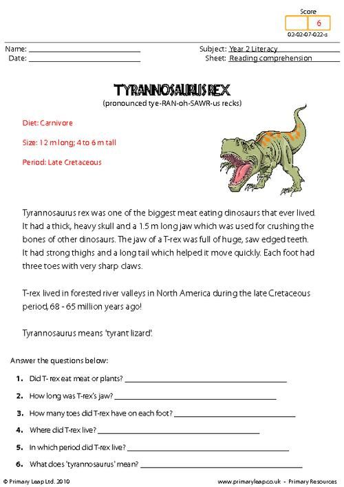 Primaryleap.co.uk - Reading comprehension: Tyrannosaurus Rex. Read the text and answer the questions.
