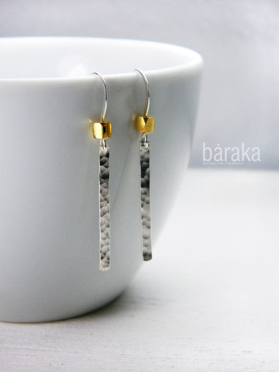 Slim hammered bar earrings with gold beads  by BarakaCustomJewelry