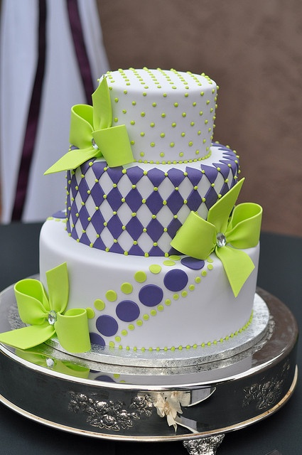Purple & Green Wedding Cake by Designer Cakes By April, via Flickr