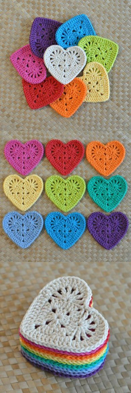 Granny Heart Coaster N Motif Crochet Pattern - $2.25
