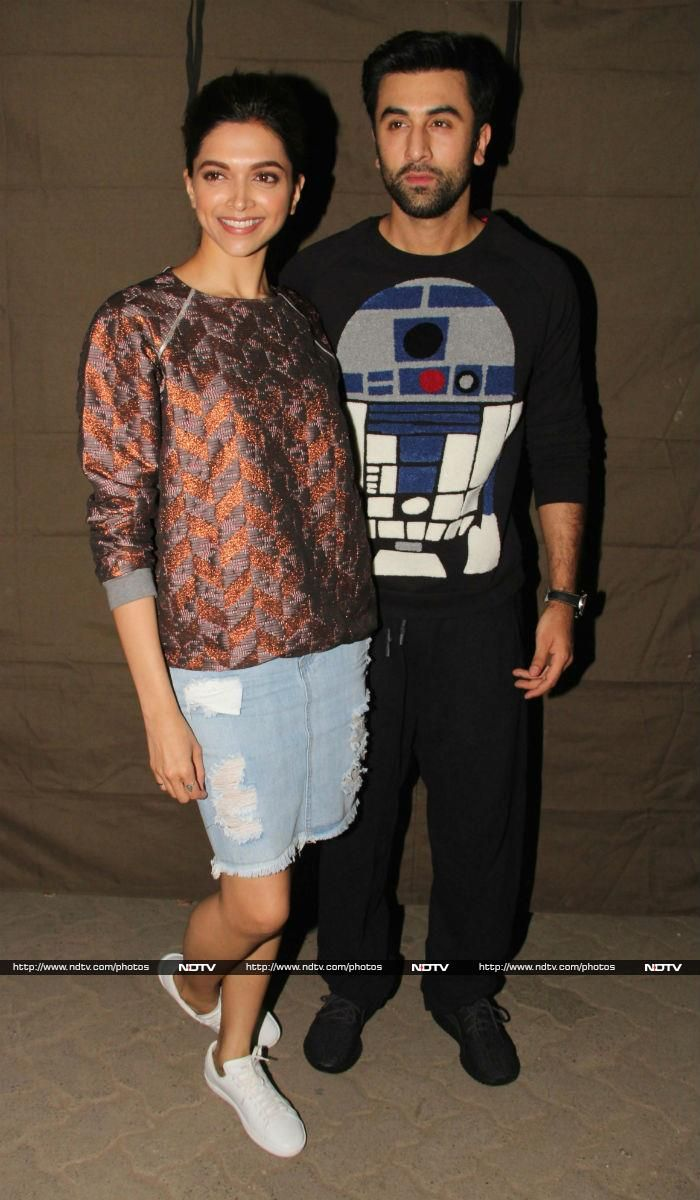 Tamasha co-stars Deepika Padukone and Ranbir Kapoor were photographed at a studio in Mumbai on November 15. Deepika looked nice in a top and denim skirt while Ranbir was dressed in casuals.