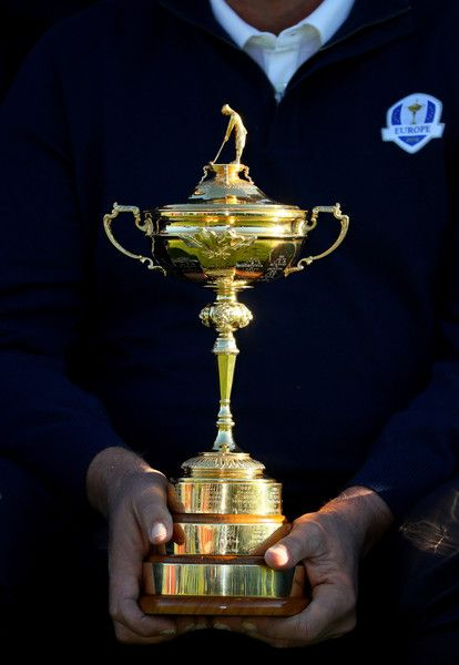 Captain Darren Clarke of Europe holds the Ryder Cup during team photocalls prior to the 2016 Ryder Cup at Hazeltine National Golf Club on September 27, 2016 in Chaska, Minnesota.