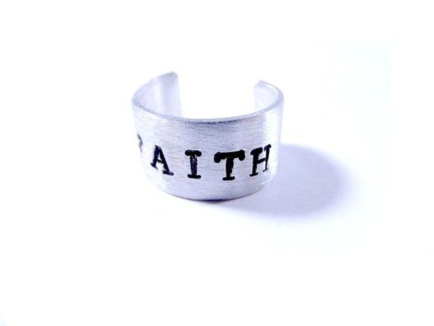 Interchangeable Rings     – Handstamped Ring FAITH – a unique product by artstore on DaWanda PAGE: http://en.dawanda.com/product/63455907-handgestempelter-Ring